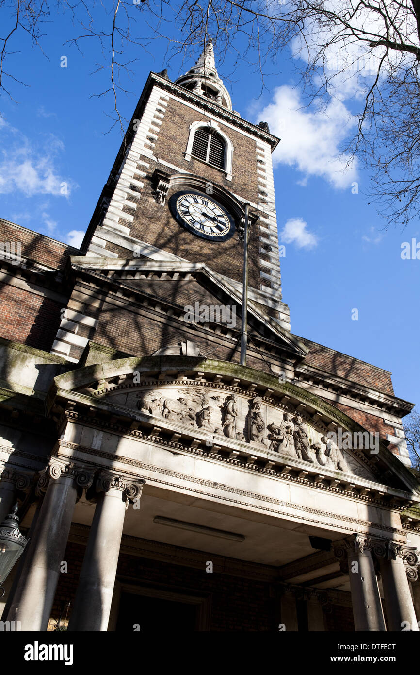 St Mary's church entrance, steeple and spire, Upper Street, Islington, North London, UK, England - Stock Image