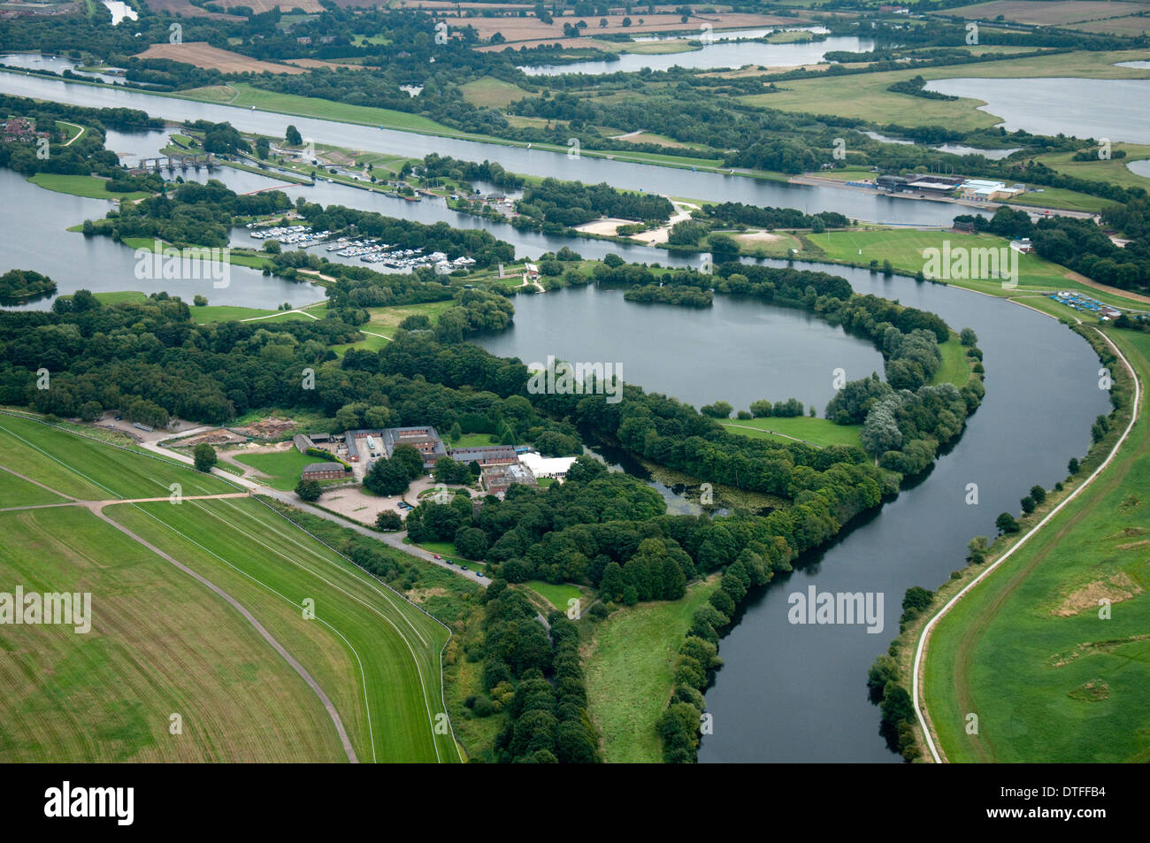 Aerial shot of Colwick Country Park in Nottingham City, Nottinghamshire UK - Stock Image
