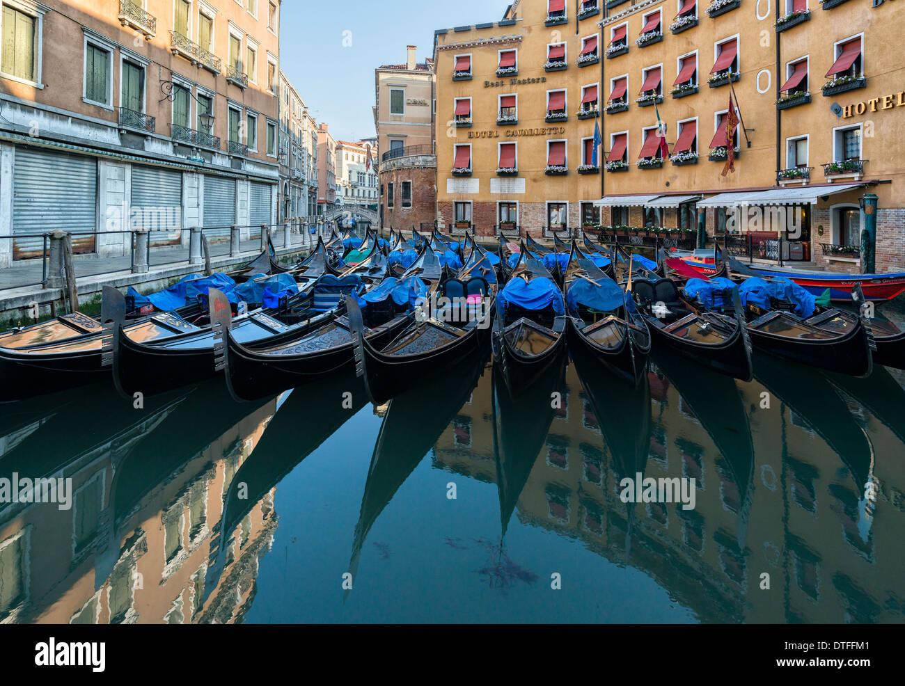 Hotel Cavalletto and Gondola moorings in Bacino Orseolo Venice. - Stock Image