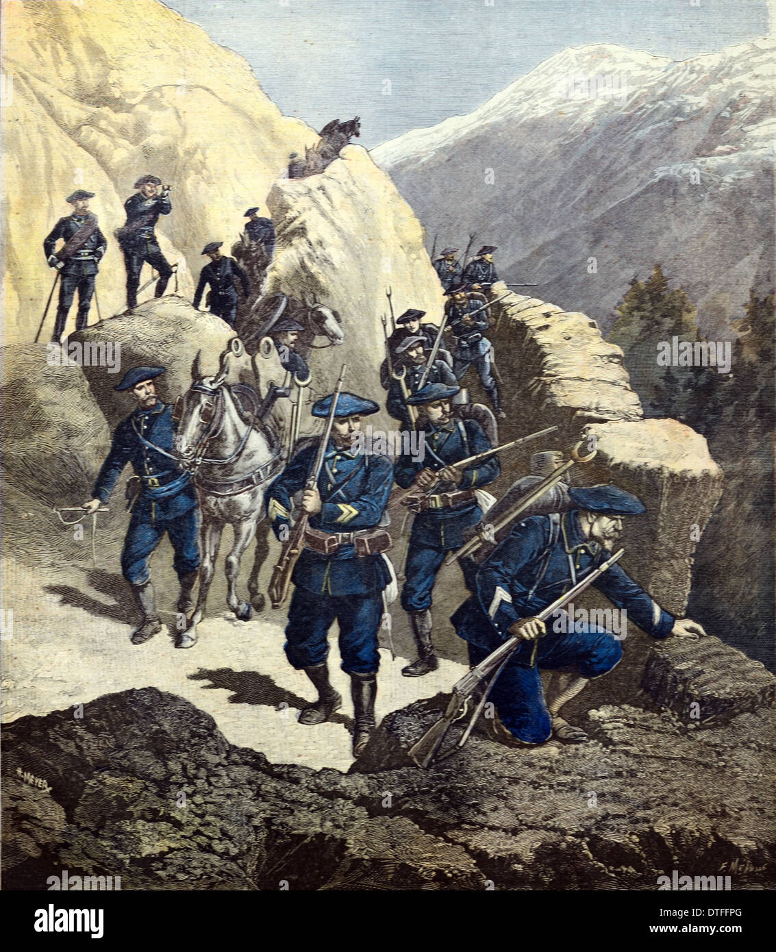 Chasseurs Alpins or French Mountain Infantry or Soldiers on Maneuvers in the French Alps1891 - Stock Image