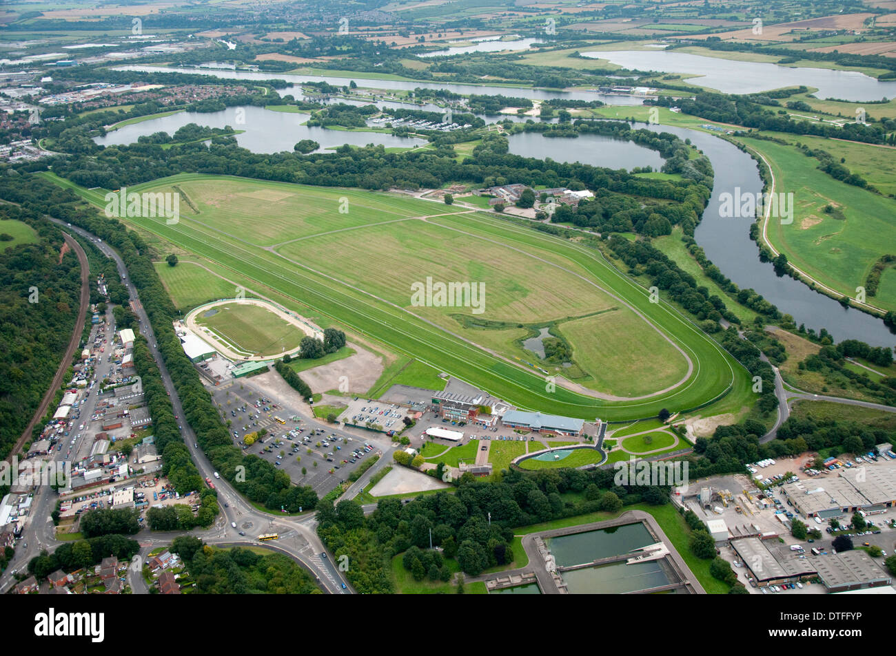 Aerial shot of Colwick Park and the Racecourse in Nottingham City, Nottinghamshire UK - Stock Image