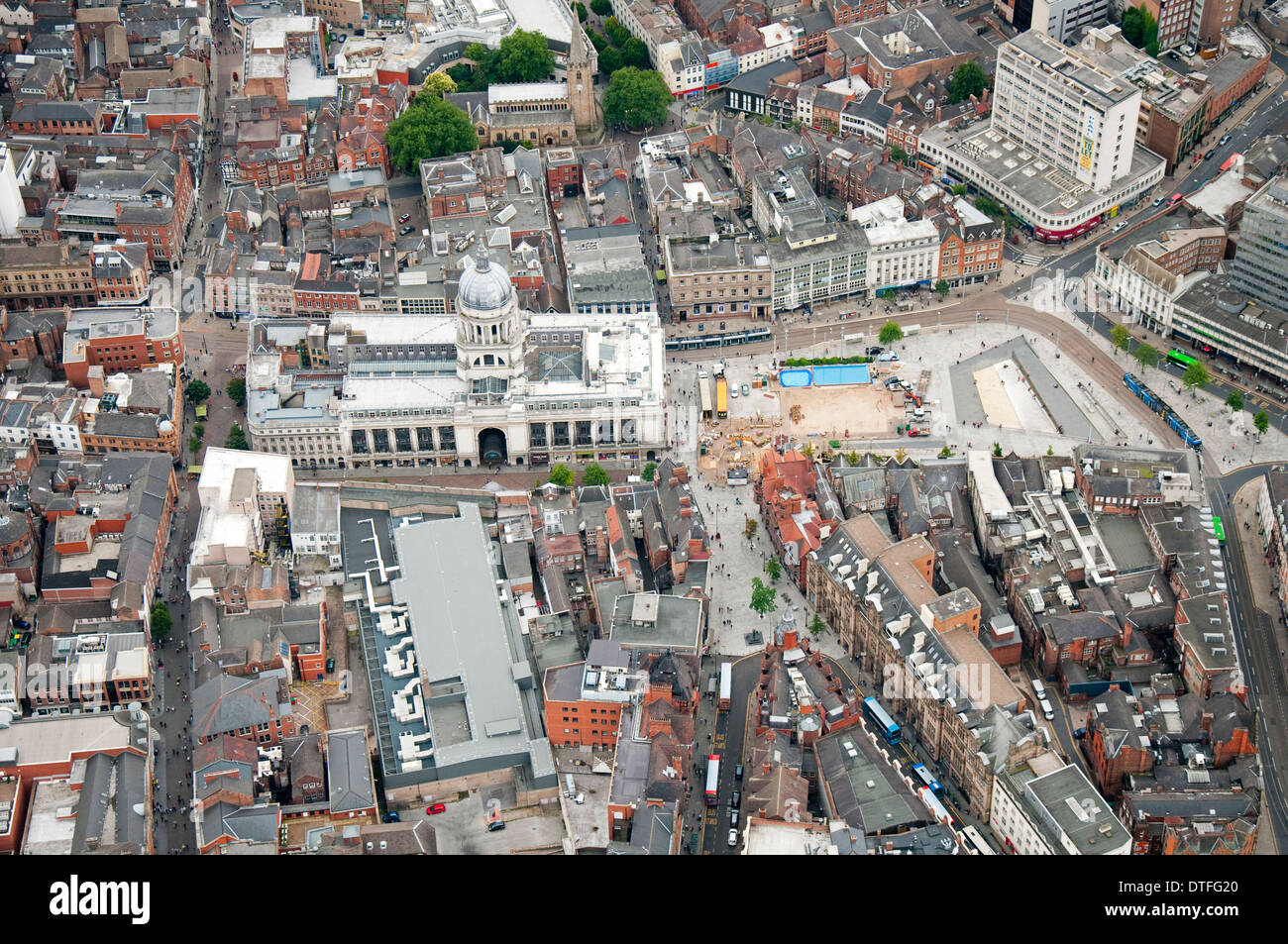 Aerial shot of Nottingham City Centre and the Council House, Nottinghamshire UK Stock Photo