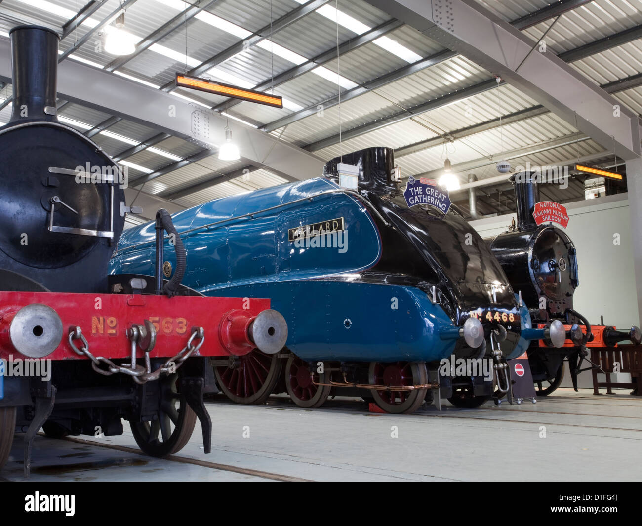 The 'Mallard' Class A4 steam locomotive, among others, at the National Railway Museum, Shildon - Stock Image