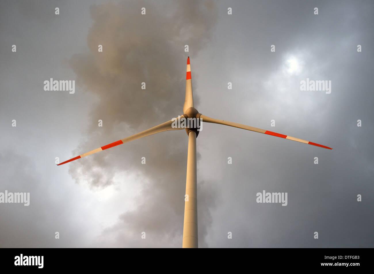 Wind turbine Gelsenkirchen-Scholven, Germany. - Stock Image