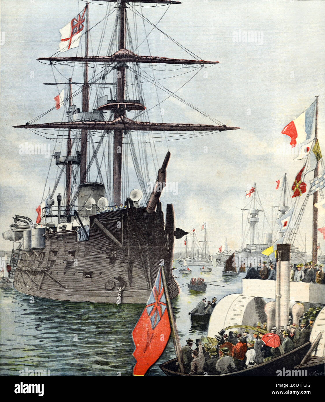 French Navy of Fleet in Portsmouth Harbor Harbour or Port England 1891 - Stock Image