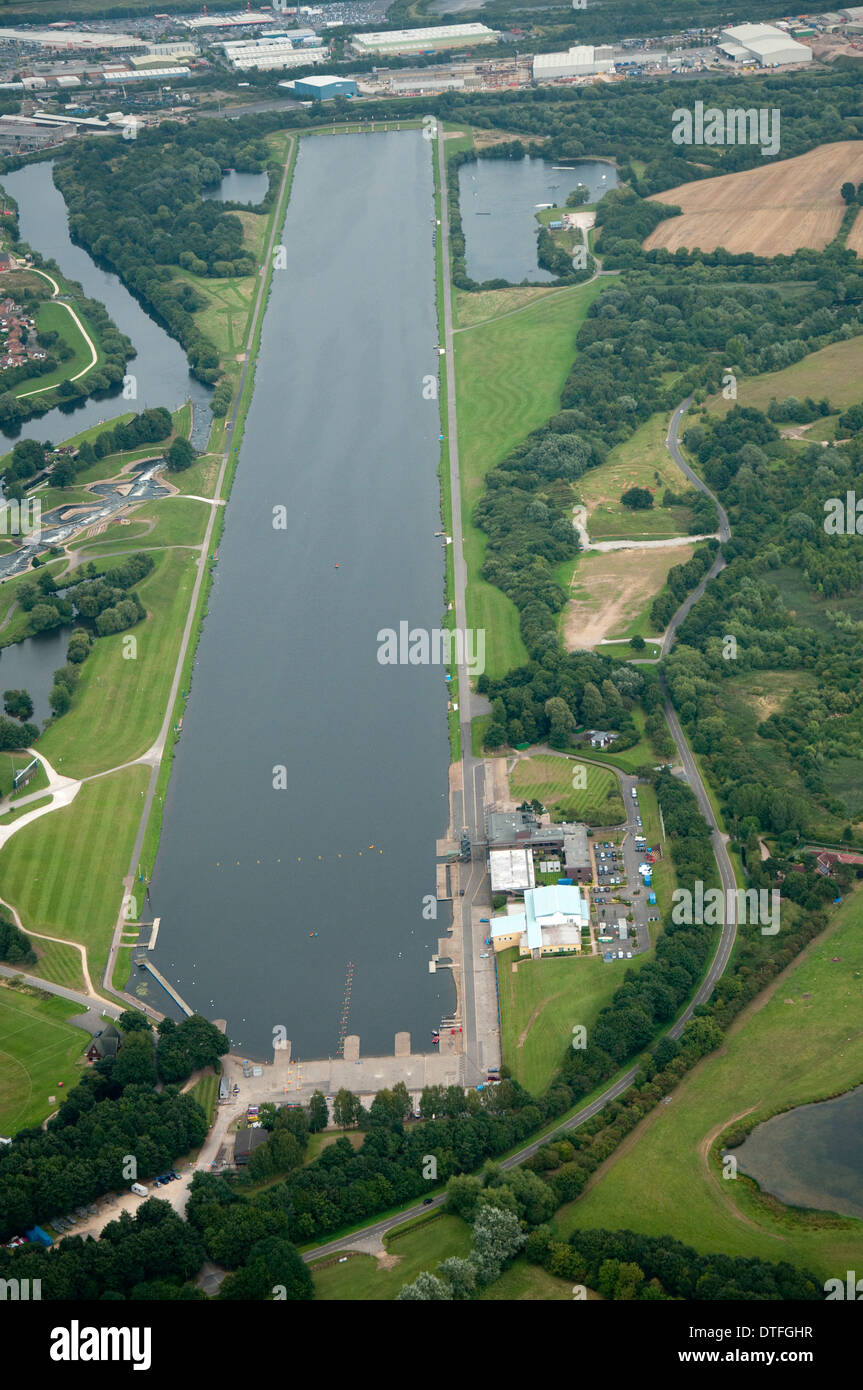 Aerial shot of the water course at Holme Pierrepont in Nottingham, Nottinghamshire UK - Stock Image