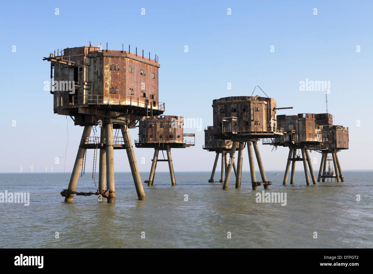Red sands forts Thames estuary now abandoned. - Stock Image