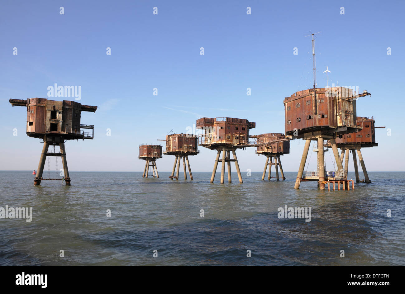Maunsell sea forts. Red sands forts Thames estuary now abandoned - Stock Image