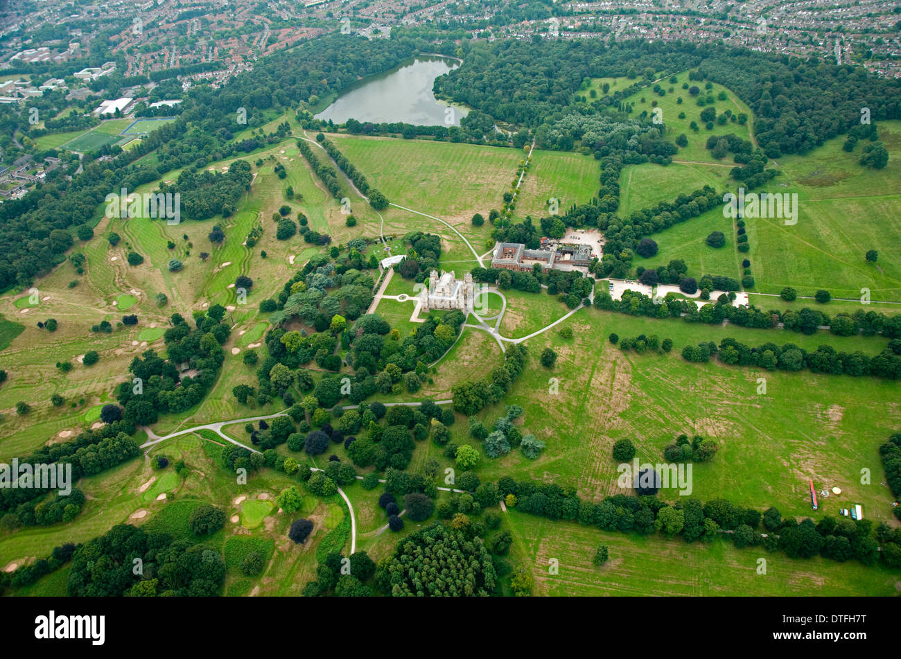 Aerial shot of Wollaton Hall and Deer Park in Nottingham, Nottinghamshire UK - Stock Image