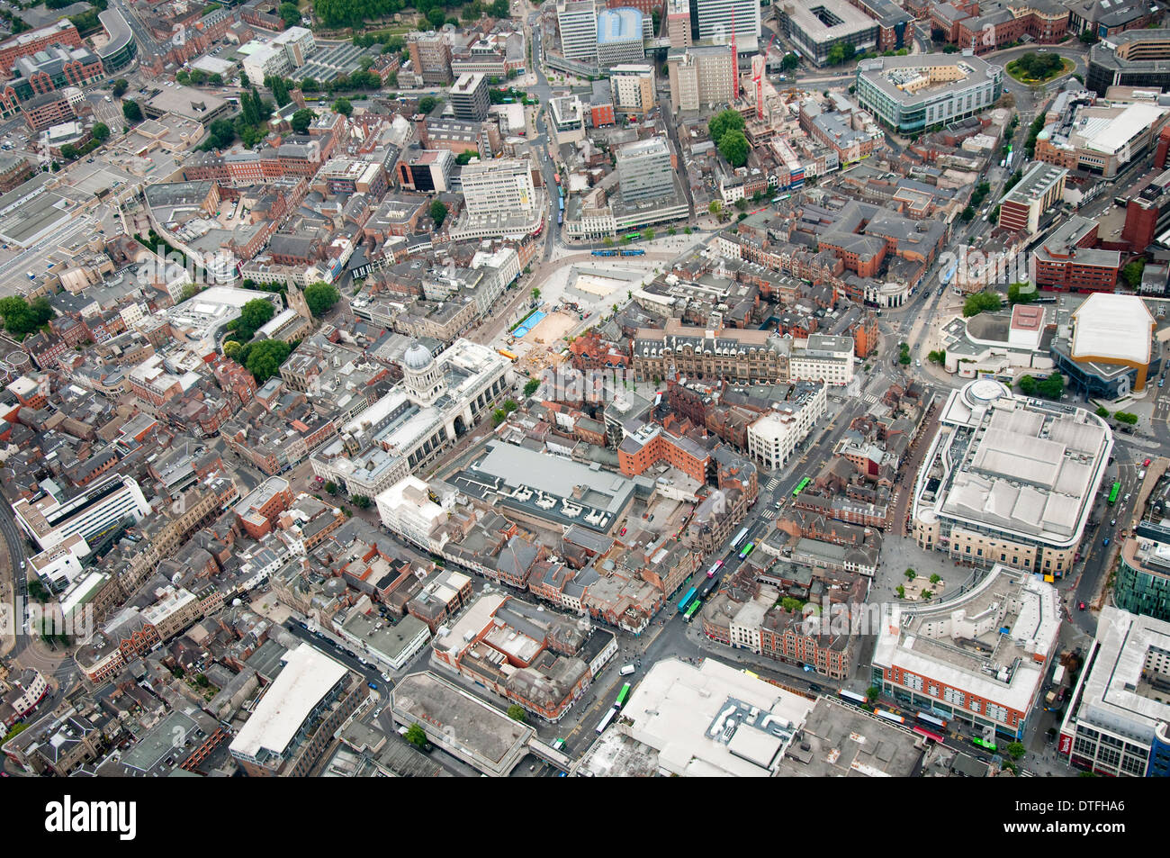 Aerial shot of Nottingham City, Nottinghamshire UK - Stock Image