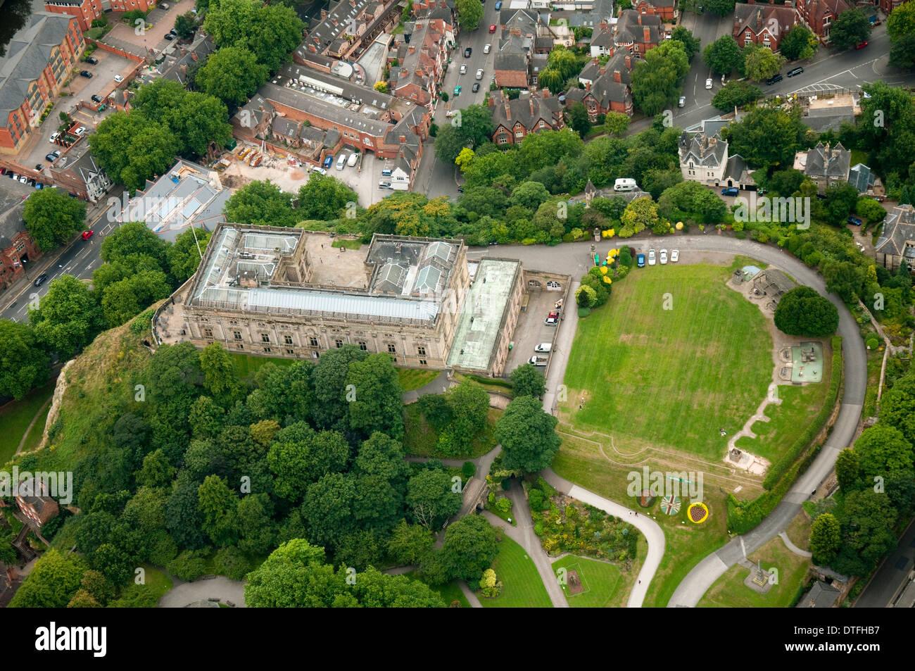 Aerial shot of Nottingham Castle and surrounding area, Nottingham Nottinghamshire UK - Stock Image