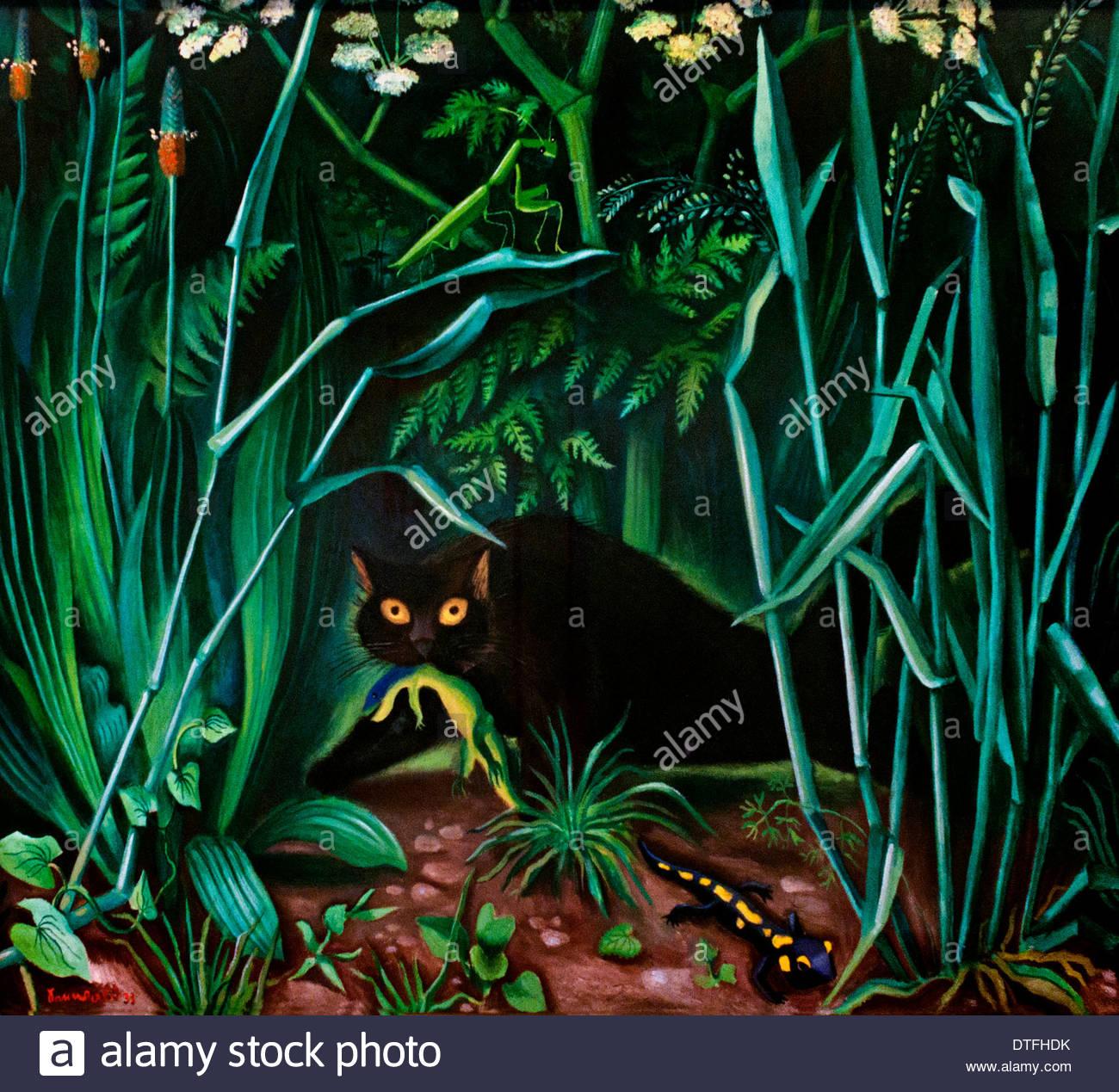 Cat with Salamander Richard Seewald 1889 -1976   German Germany - Stock Image