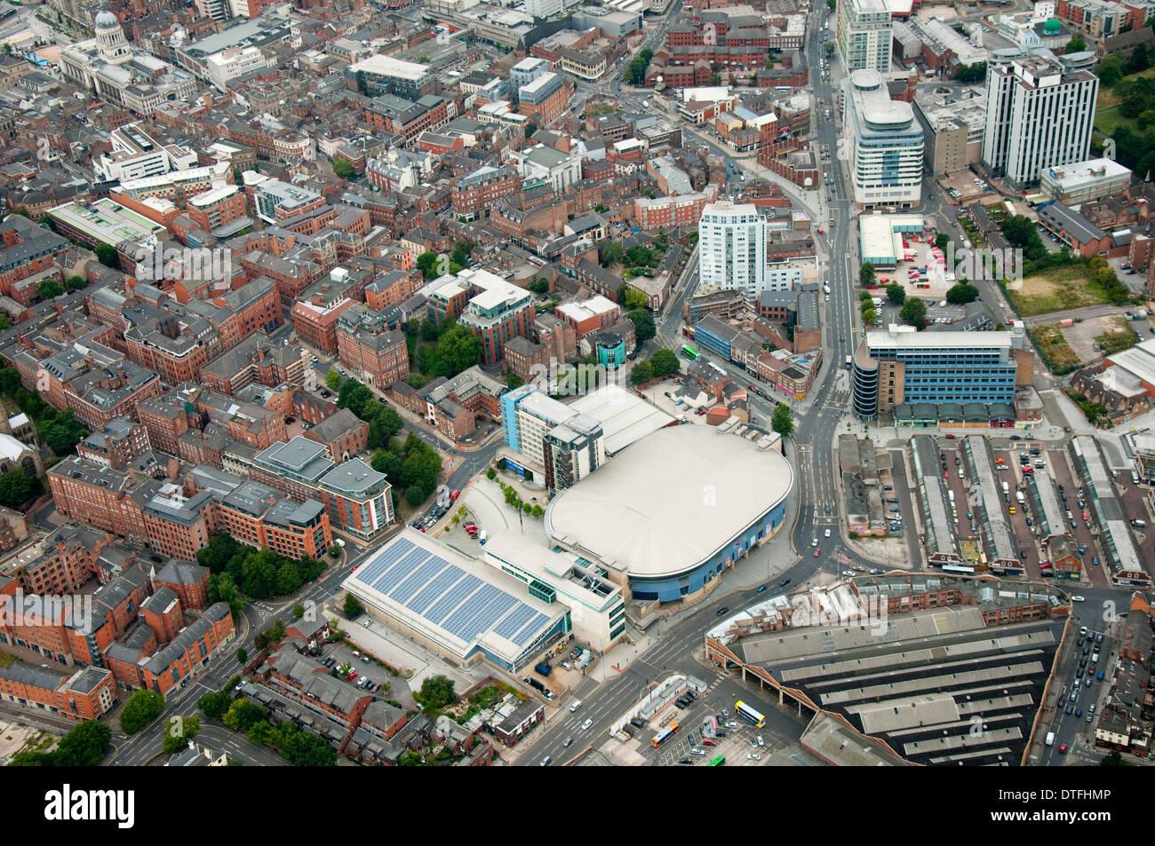 Aerial shot of the National Ice Arena and Nottingham City, Nottinghamshire UK - Stock Image