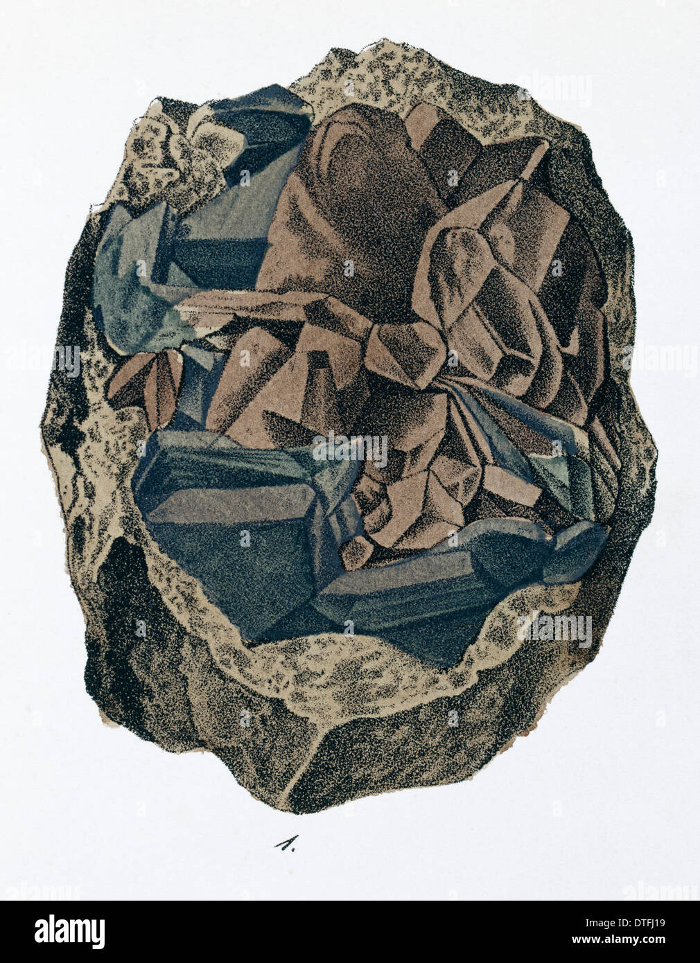 Plate 10, fig 1 from Mineralienbuch - Stock Image