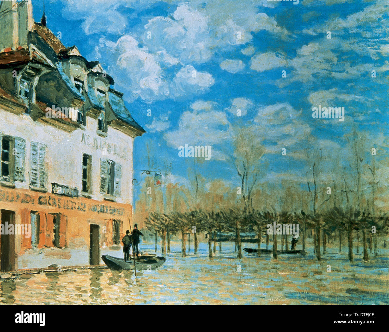 Alfred Sisley (1839-1899). Impressionist landscape painter. The Boat in the Flood, Port-Marly, 1876. - Stock Image