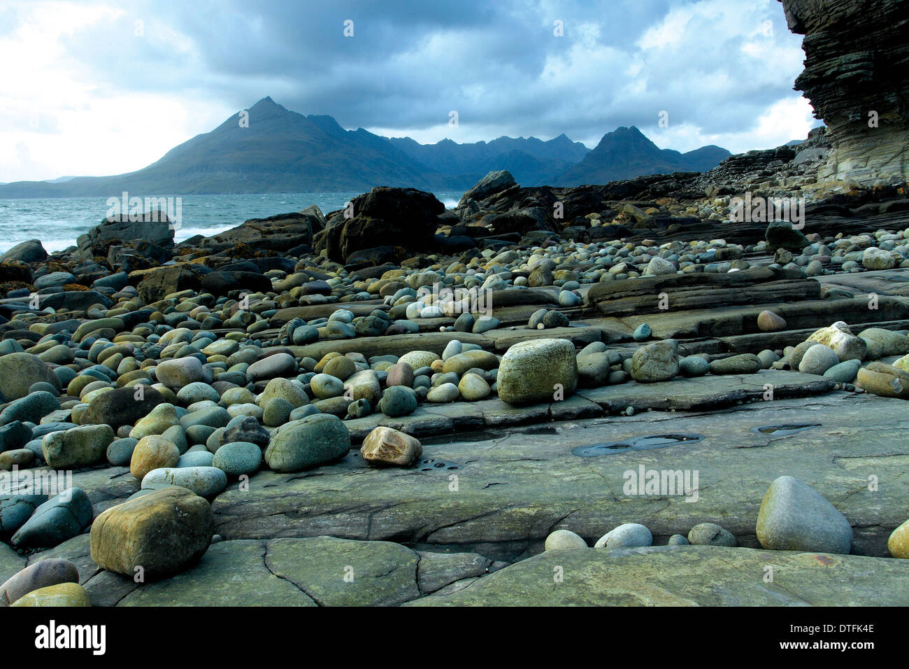 The Black Cuillin and Loch Scavaig from Elgol, Isle of Skye, Inner Hebrides, Highland - Stock Image