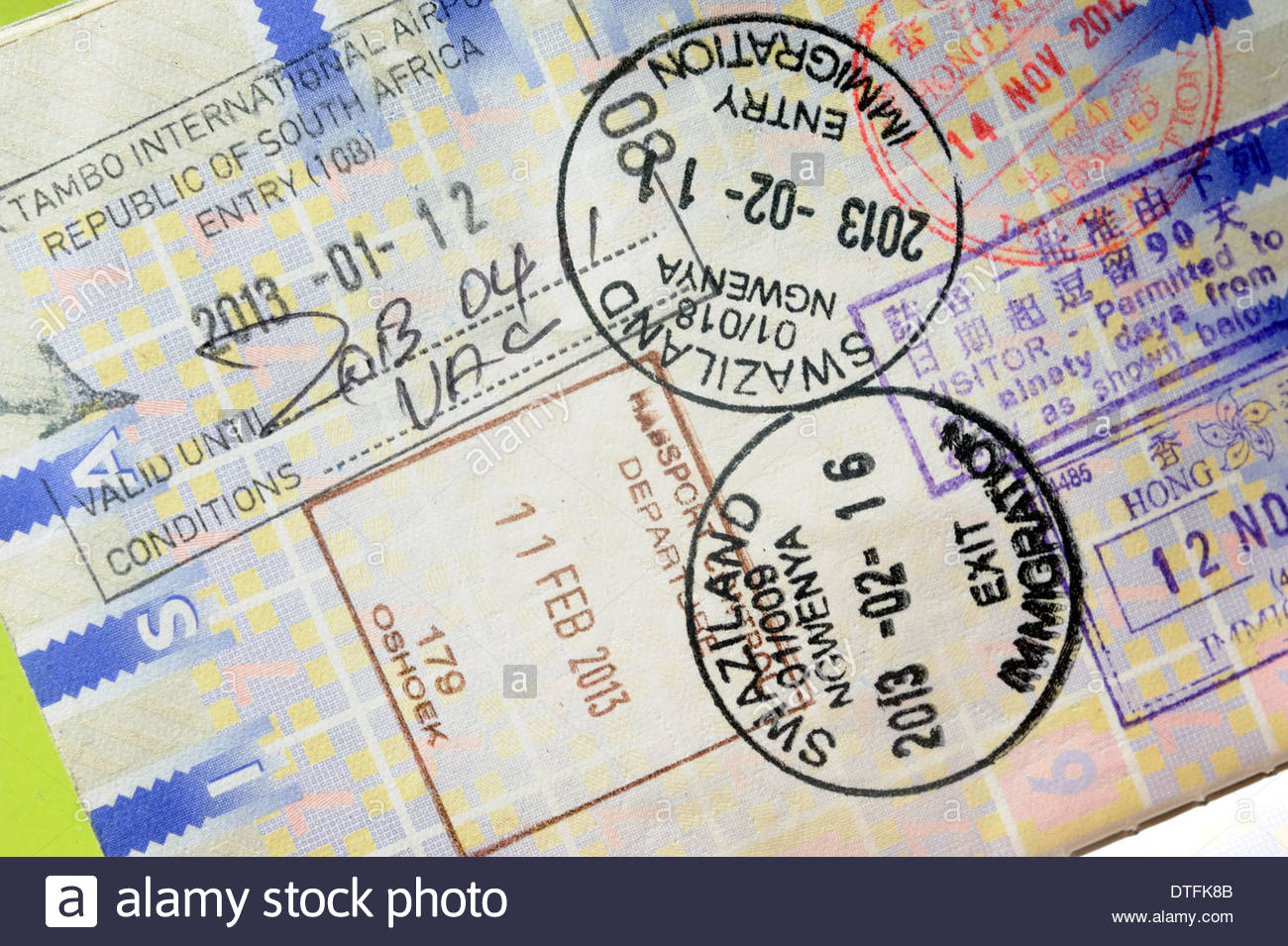 Entry and exit visa's for South Africa (OR Tambo) and Swaziland (Ngwenya/Oshoek) - Stock Image