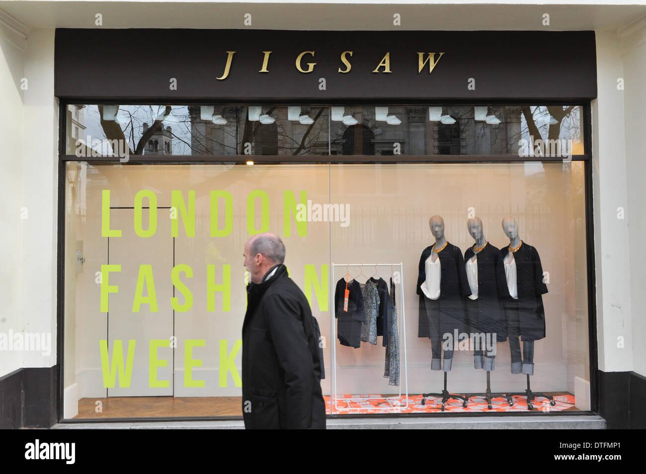 The Strand, London, UK. 17th Feb 2014. The window of Jigsaw for London Fashion Week. Credit:  Matthew Chattle/Alamy Stock Photo