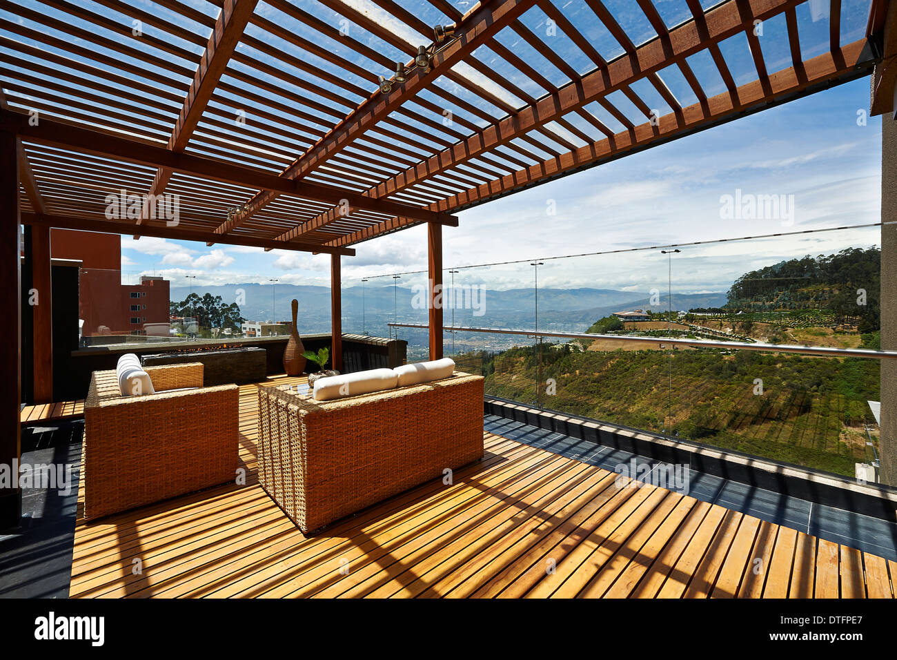 Interior design: Beautiful terrace lounge with pergola - Stock Image