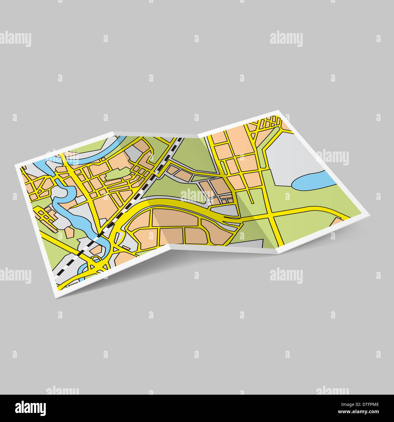 illustration of map booklet on grey background