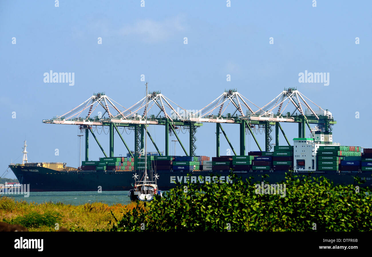 Ever Reach ship container in Colon port  Panama - Stock Image