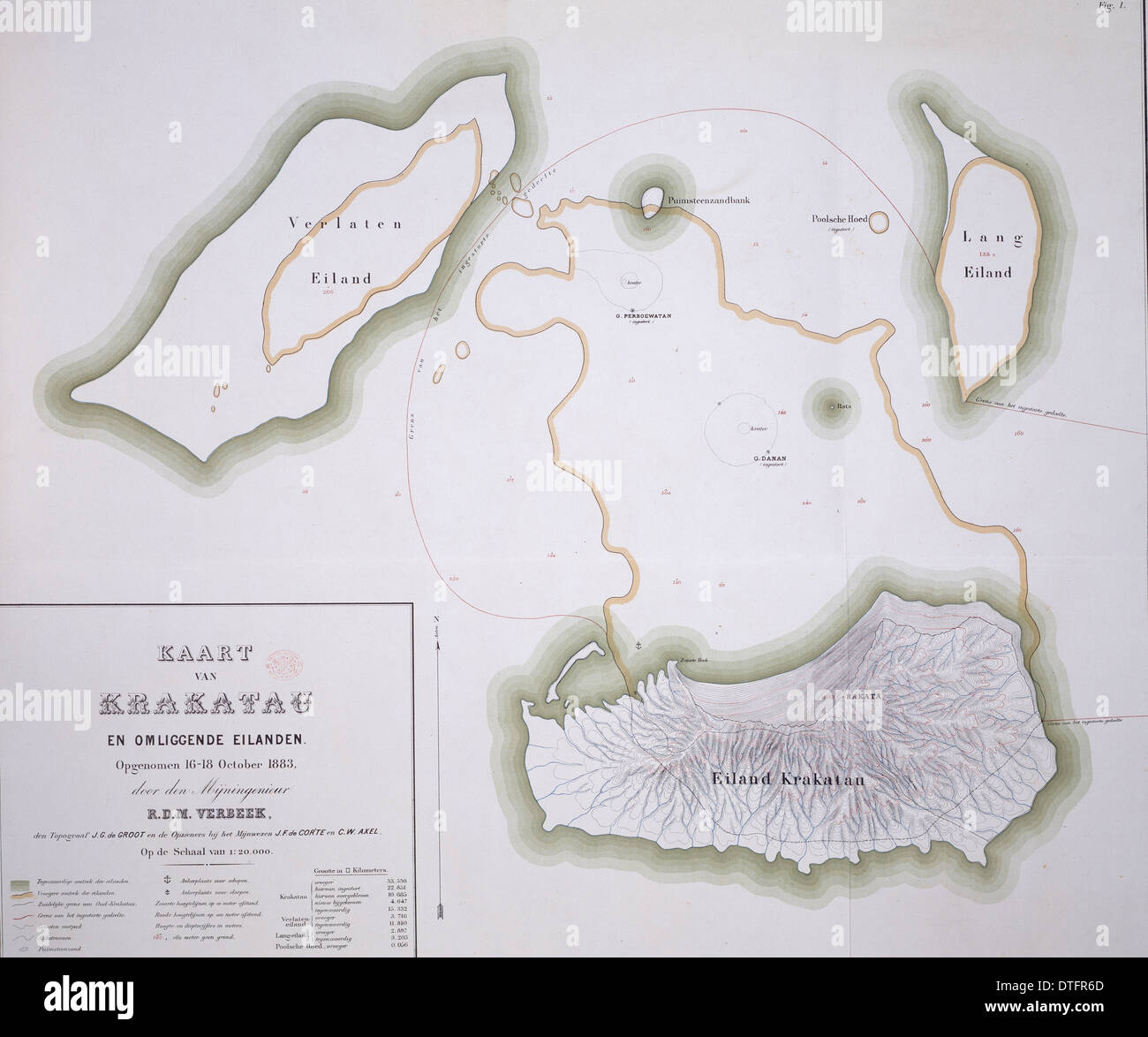 Krakatau map - Stock Image