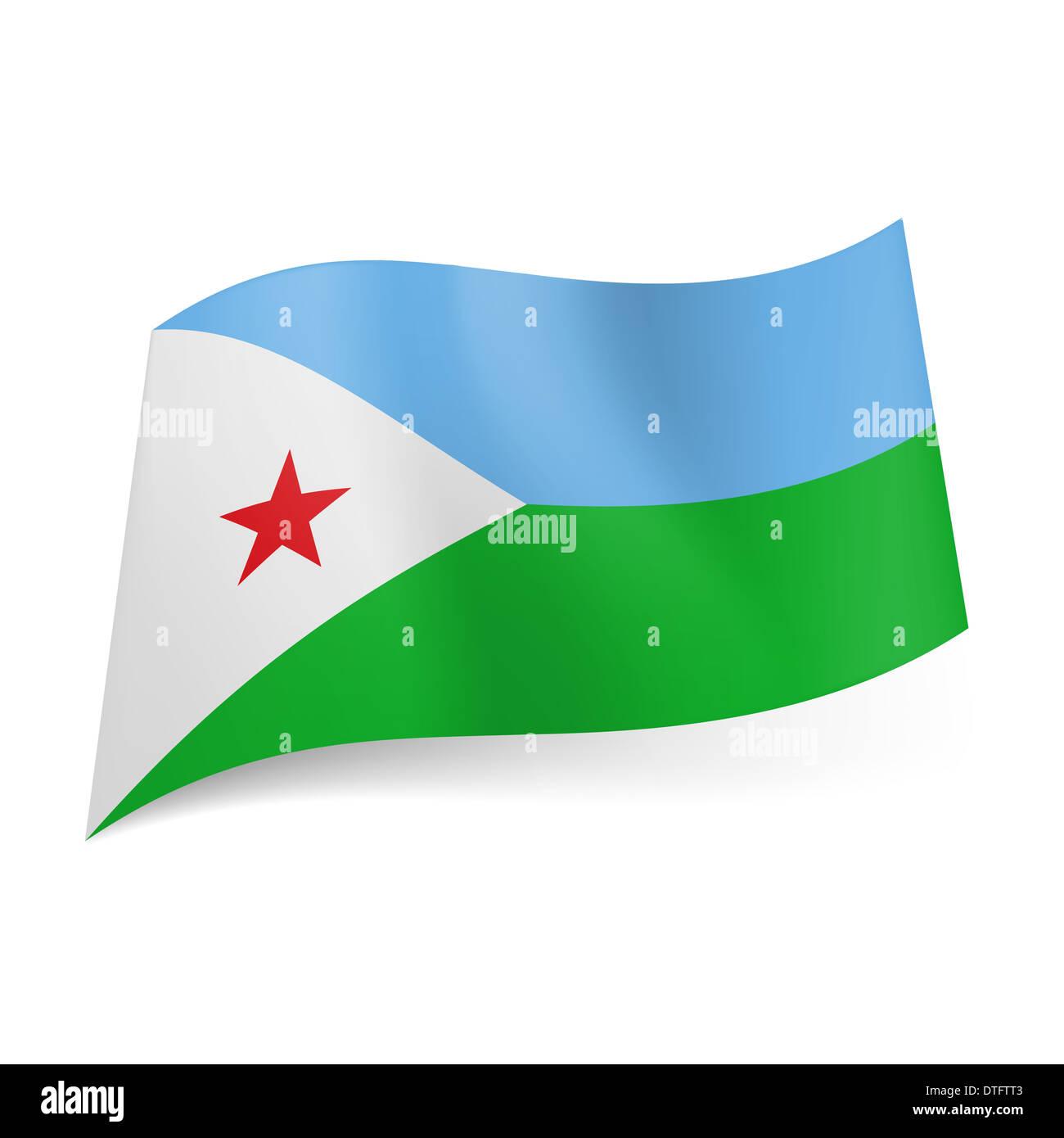 National Flag Of Djibouti Blue And Green Horizontal Stripes White