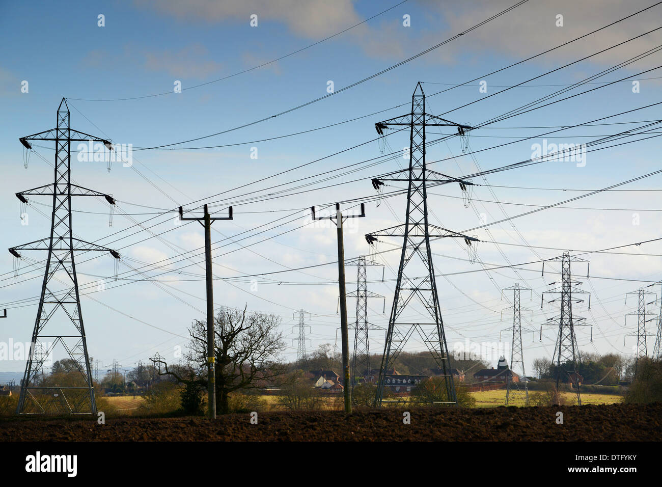 Electricity overhead cables and wires on pylons near Broseley in Shropshire England Uk - Stock Image