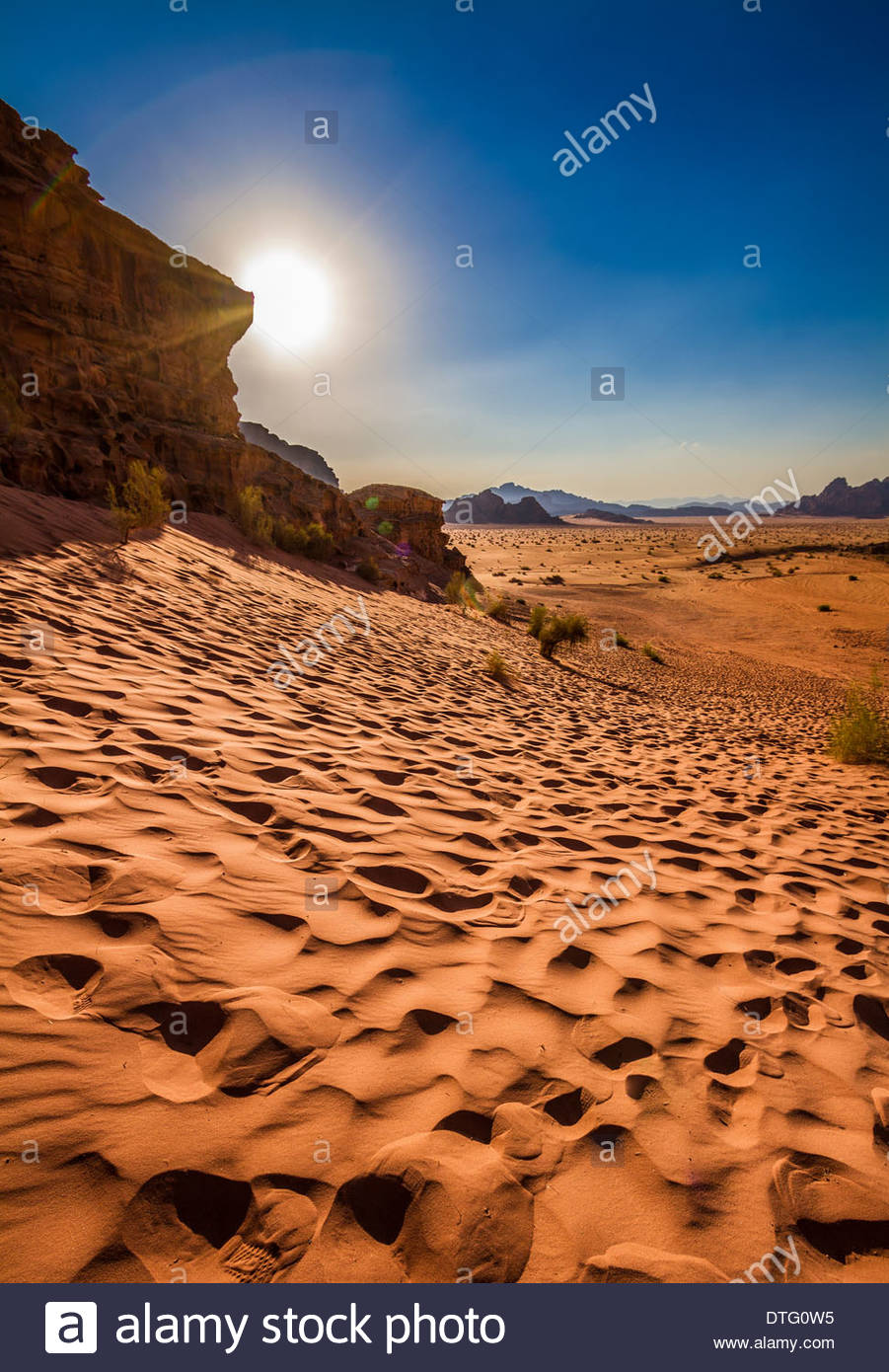 Sunshine In The Wadi Rum Desert, Aqaba, Jordan - Stock Image