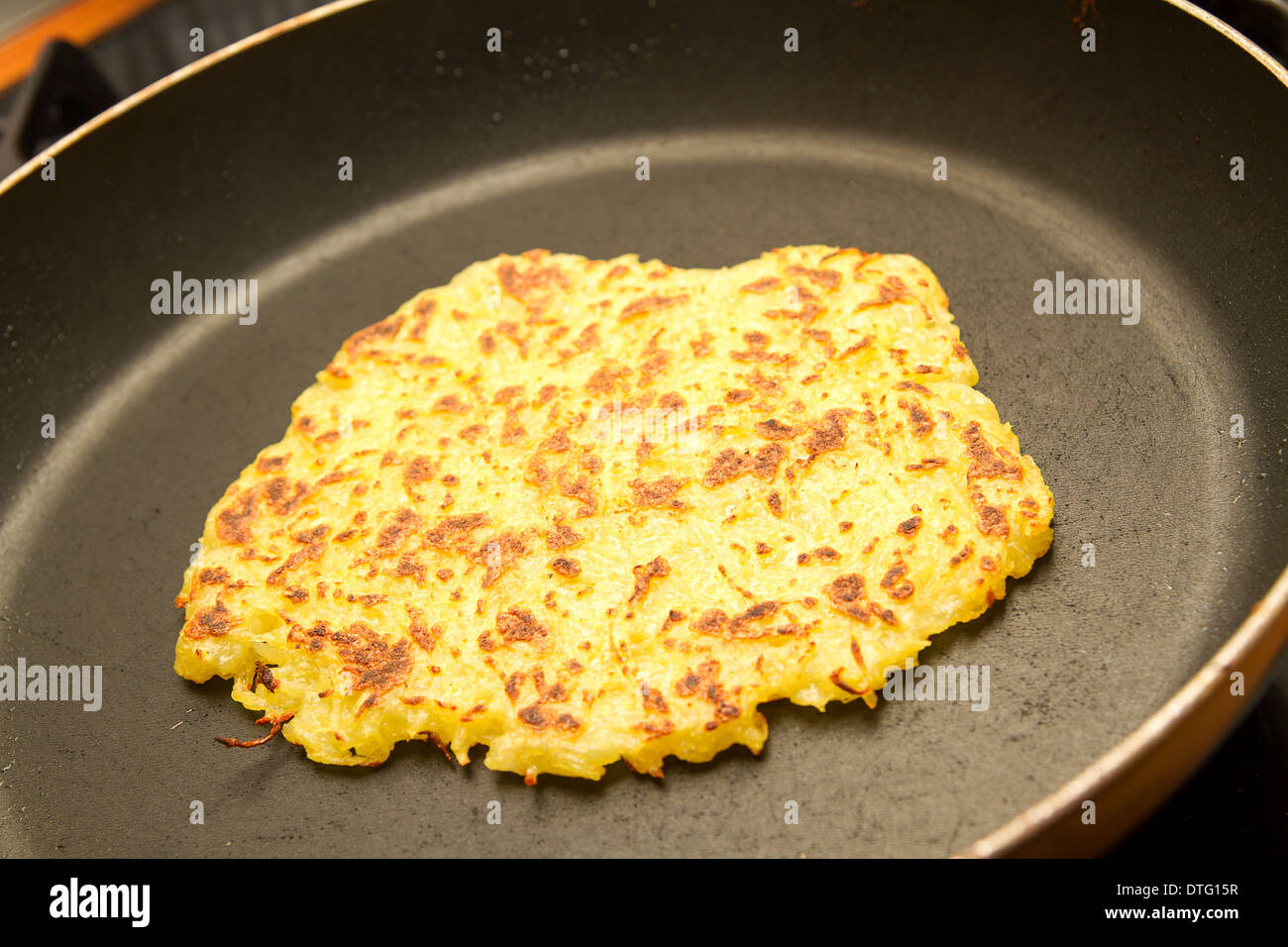 potato fritter in a pan Stock Photo