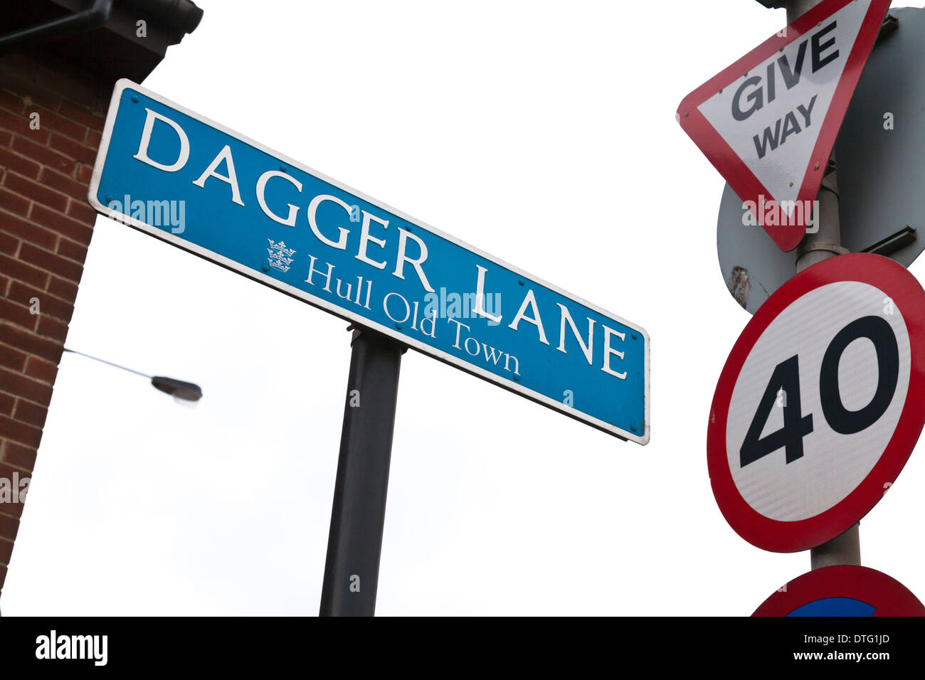 Dagger Lane road sign Kingston Upon hull East Riding city centre, East Yorkshire, England, UK GB signs photos pictures of - Stock Image