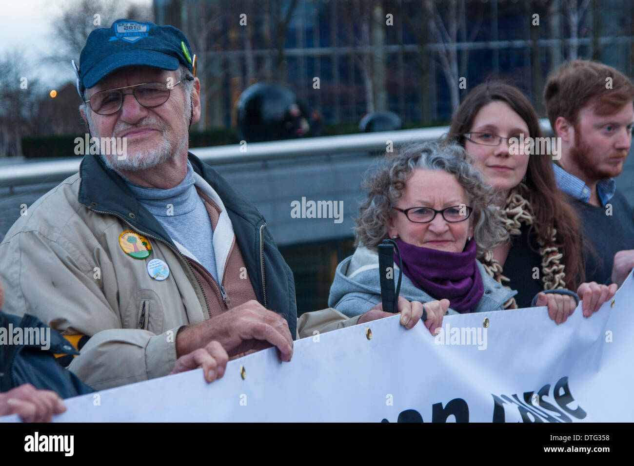 London, UK. 17th Feb 2014. . Dietrich Wagner, left, joined dozens of campaigners to protest against Mayor Boris Johnson's plans to bring in water cannons to subdue street demonstrations. Credit:  Paul Davey/Alamy Live News - Stock Image