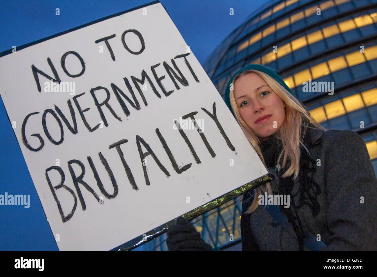London, UK. 17th Feb 2014. . Dozens gather to protest against Mayor Boris Johnson's plans to bring in water cannons to subdue street demonstrations. Credit:  Paul Davey/Alamy Live News - Stock Image