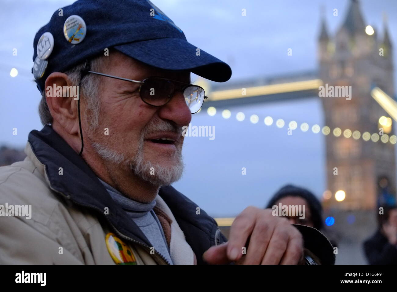 Deitrich Wagner who was blinded by Water cannon in Germany attended the meeting after his fair was crowdfunded by protesters who do not want watercannon in London - Stock Image