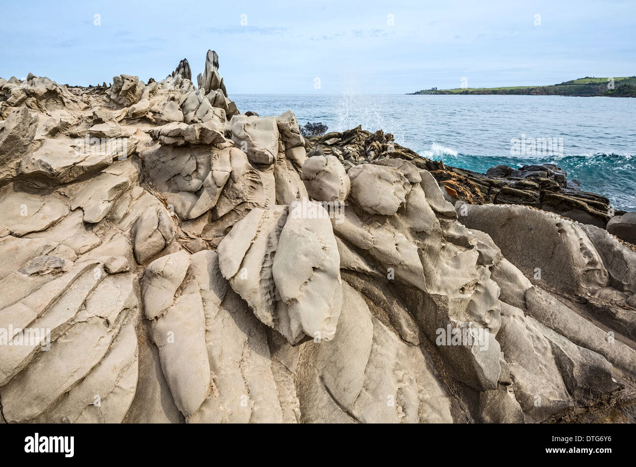 Dramatic lava rock formation called the Dragon's Teeth in Maui. - Stock Image
