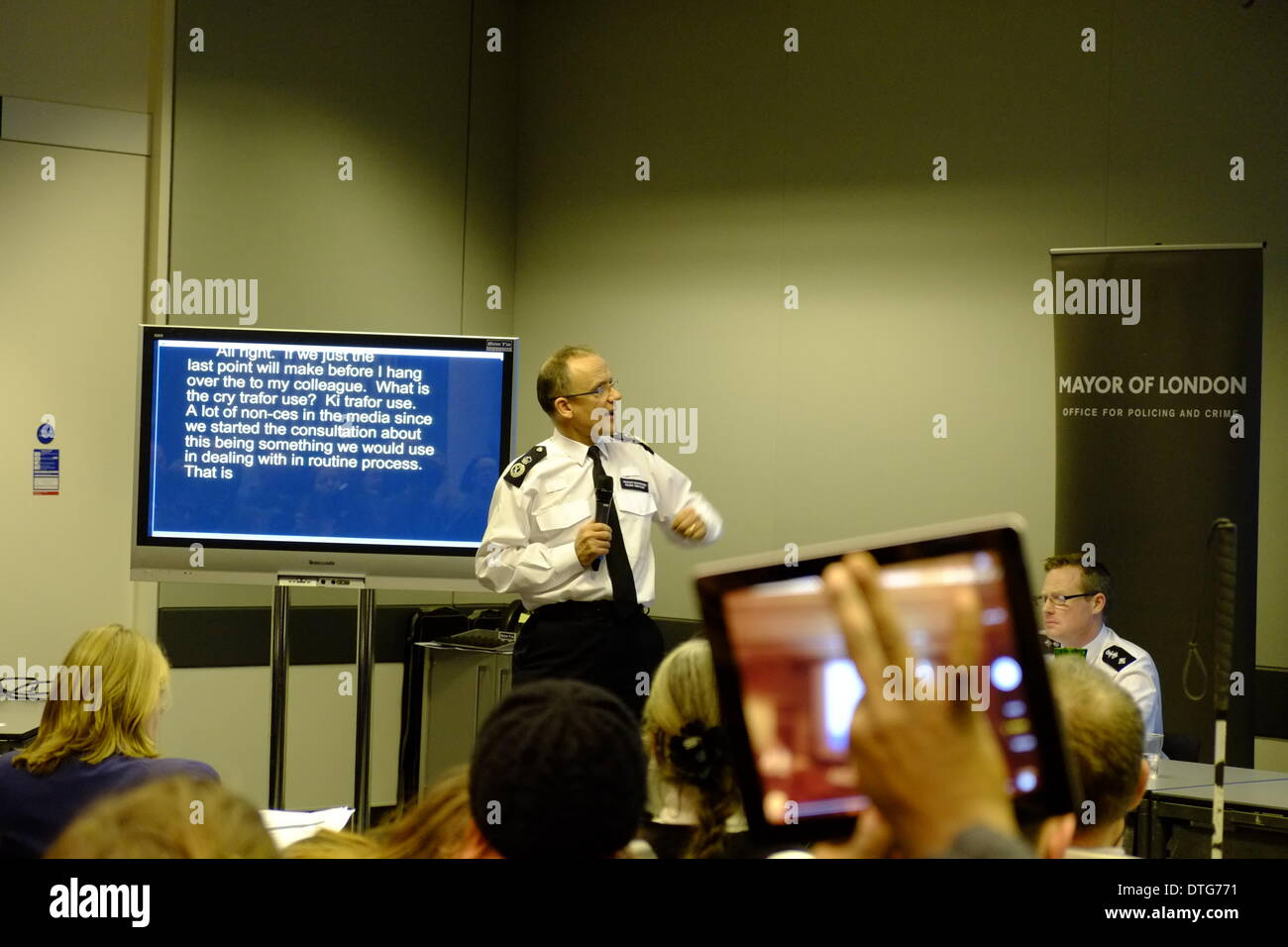 A consultation meeting  MOPAC Water Cannon Engagement .Unfortunate typing refers to 'a lot of non ces in the media' - Stock Image