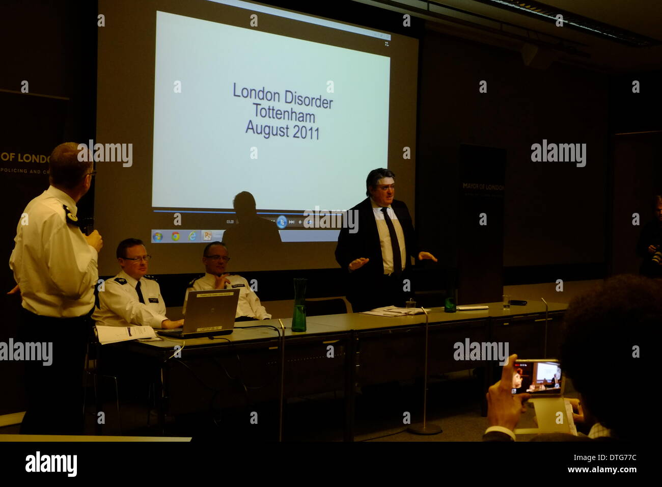 A consultation meeting  MOPAC Water Cannon Engagement was attended by protesters including Dietrich Wagner, a German pensioner who was blinded by cannon. - Stock Image