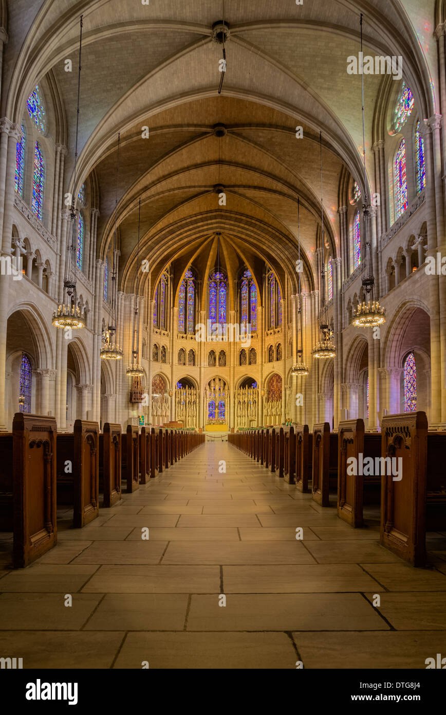 A View To The Interior Of Elaborate Neo Gothic Architecture Riverside Church In City New York