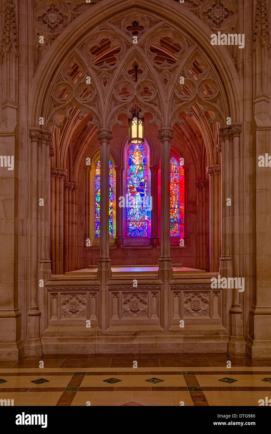 Washington National Cathedrals Interior View Of Stained Glass Windows And The Intricate Gothic Architecture