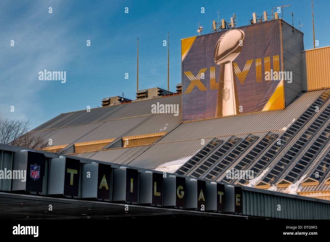 Sign of the Vince Lomardi Trophy along with Super Bowl XLVIII, on top of the NFL Tailgate section of the MetLife - Stock Image