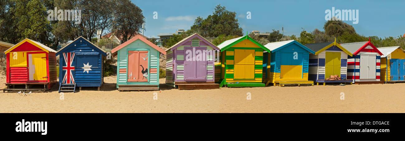 Brighton Beach Huts, Melbourne, Victoria - Stock Image