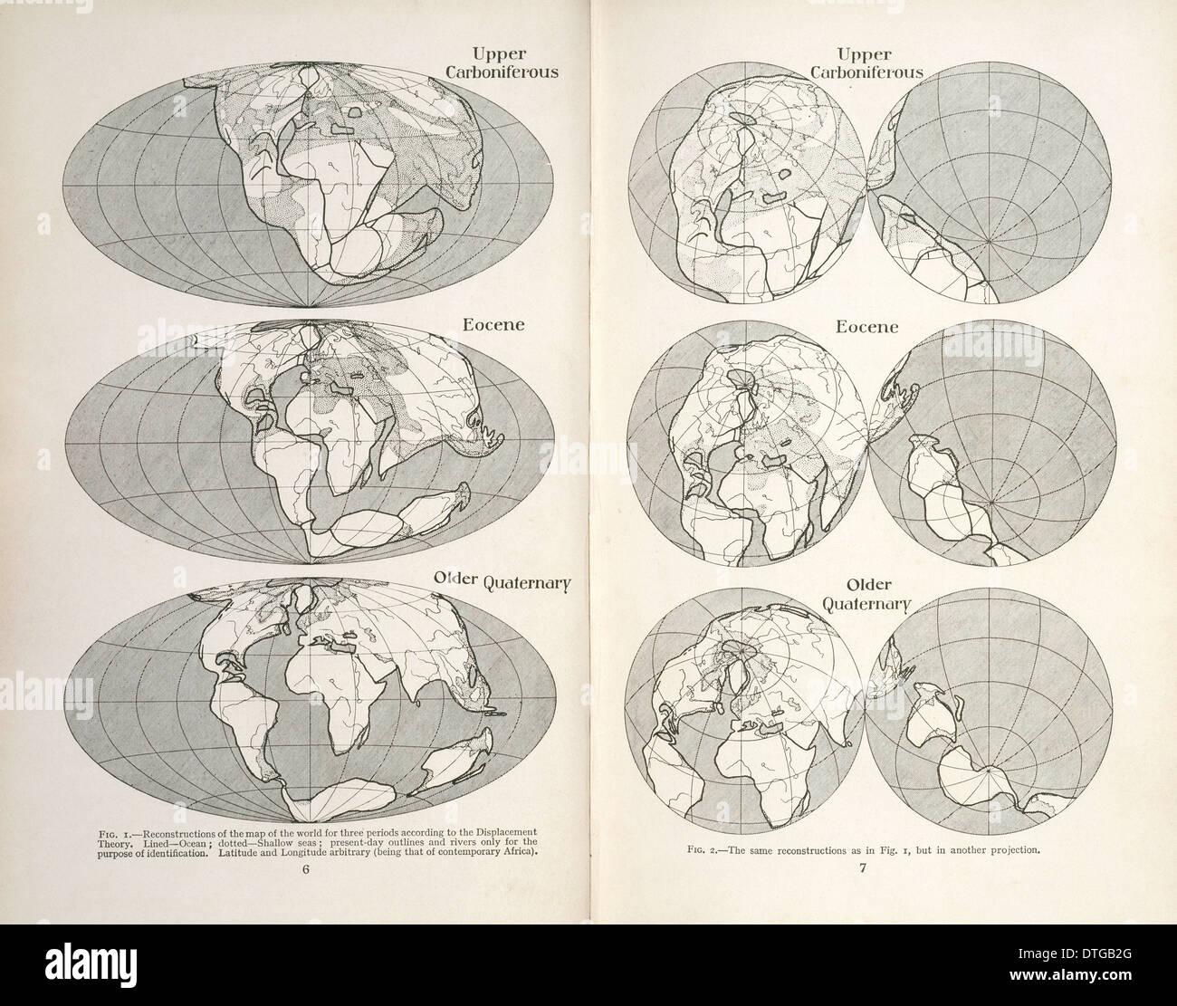 Continental drift maps - Stock Image