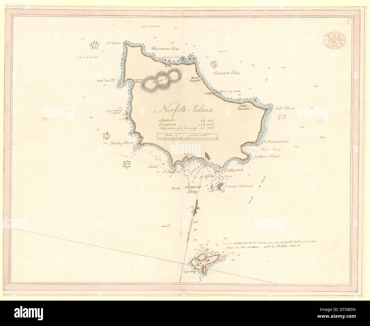 Chart of Norfolk, Nepean and Phillip Islands - Stock Image