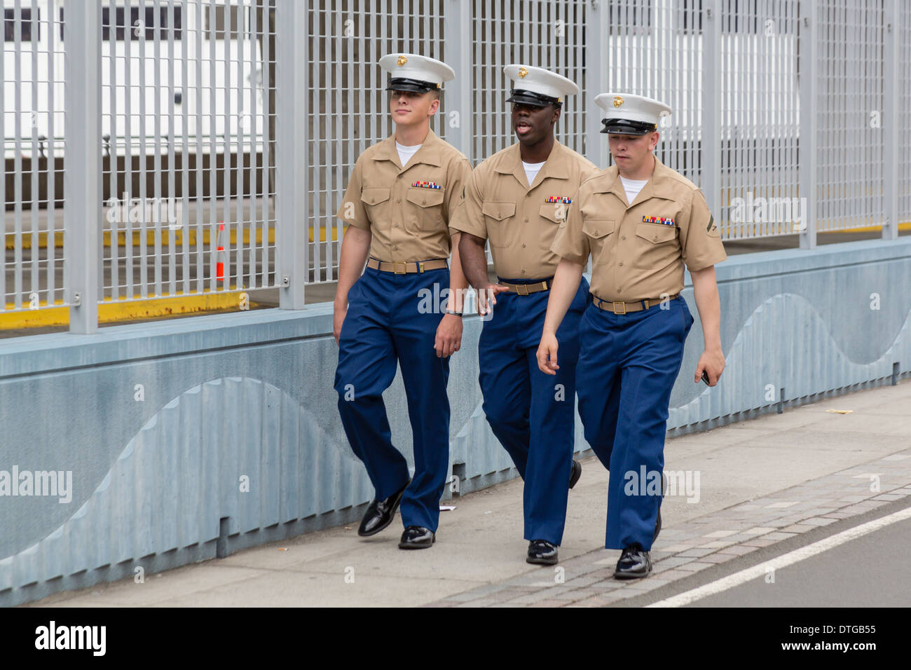 United States Lance Corporals Marines walk in New York City during the Fleet Week celebration. - Stock Image
