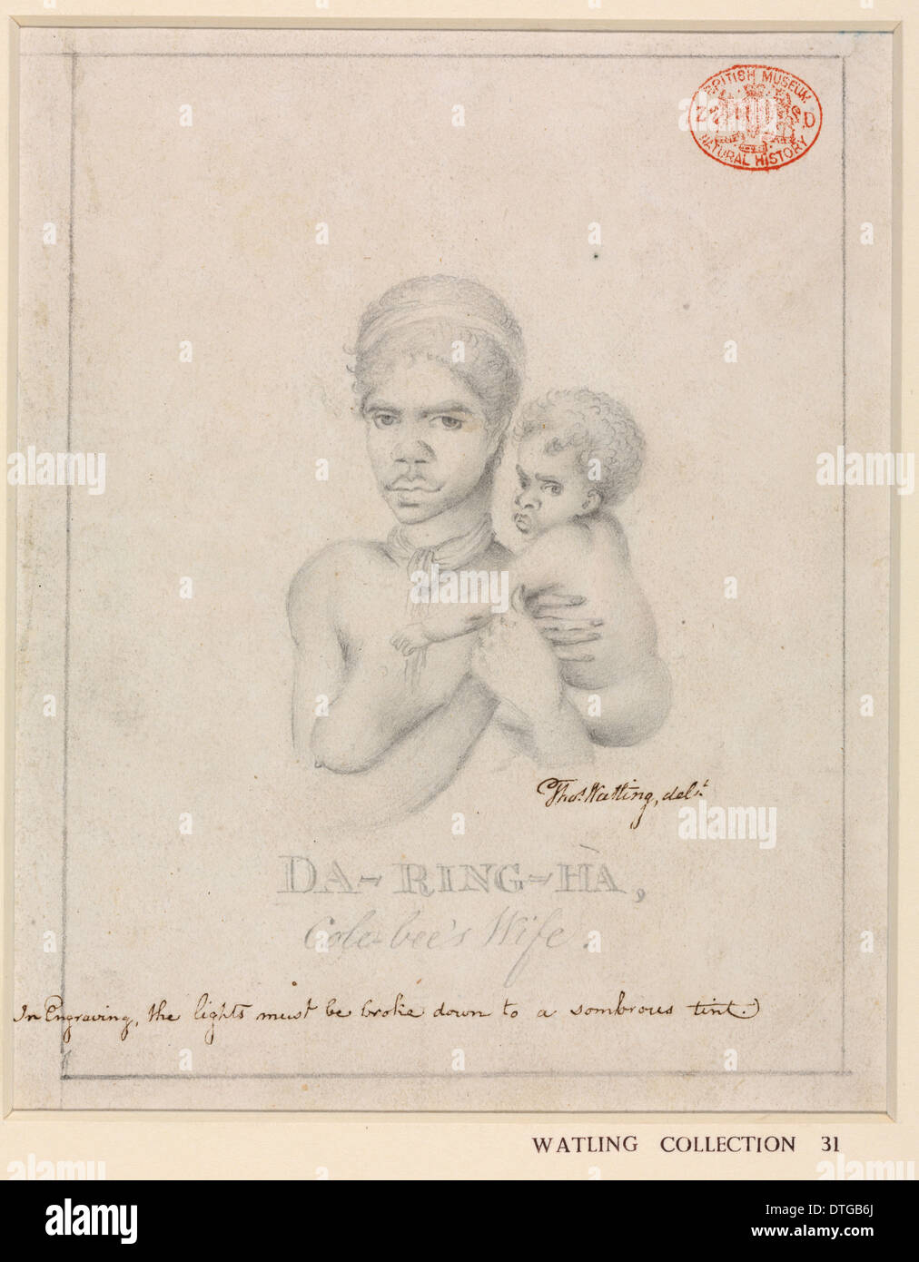 Portrait of an Aboriginal woman, named Da-ring-ha, and a child - Stock Image