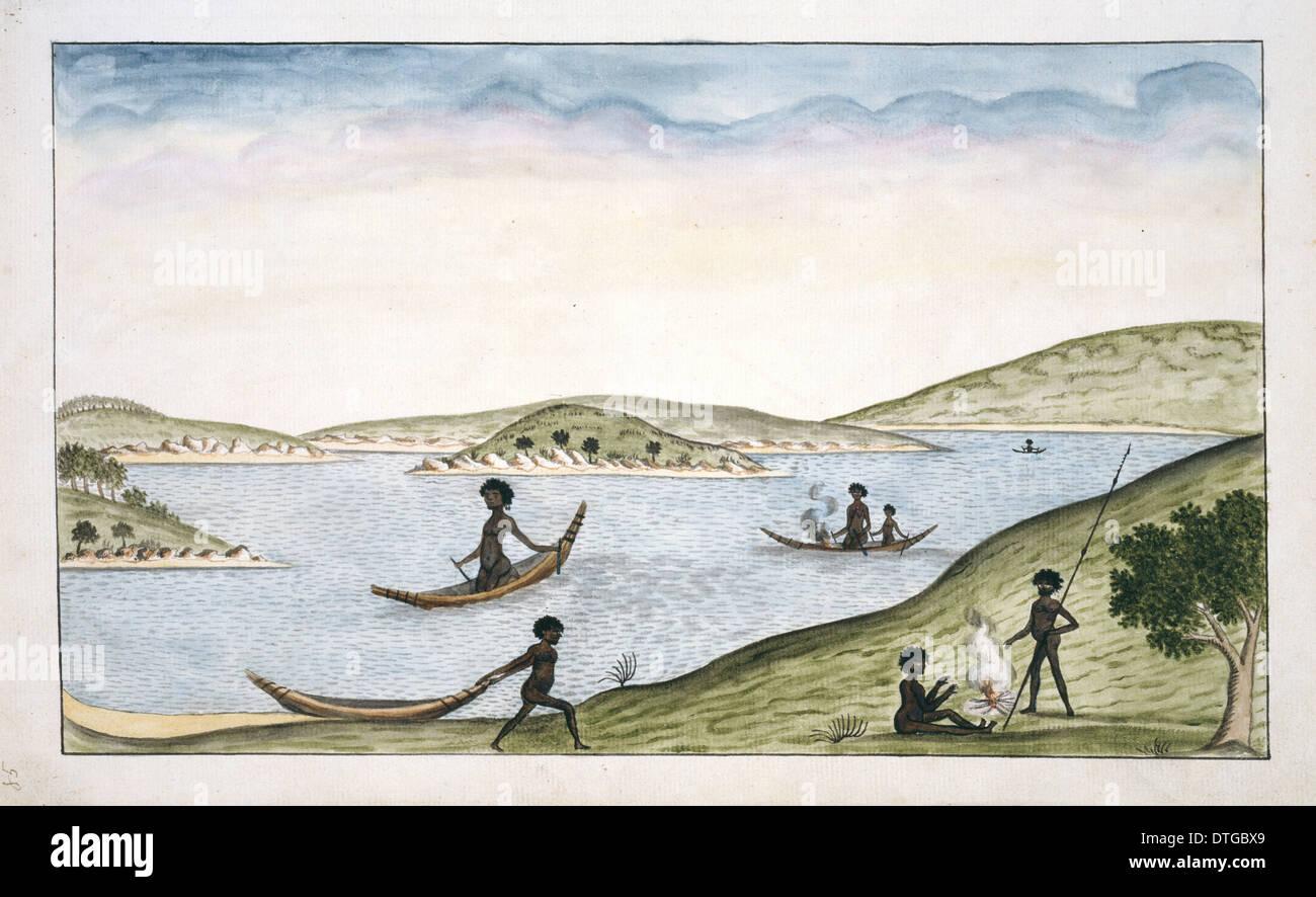 Bark canoes of Port Jackson - Stock Image