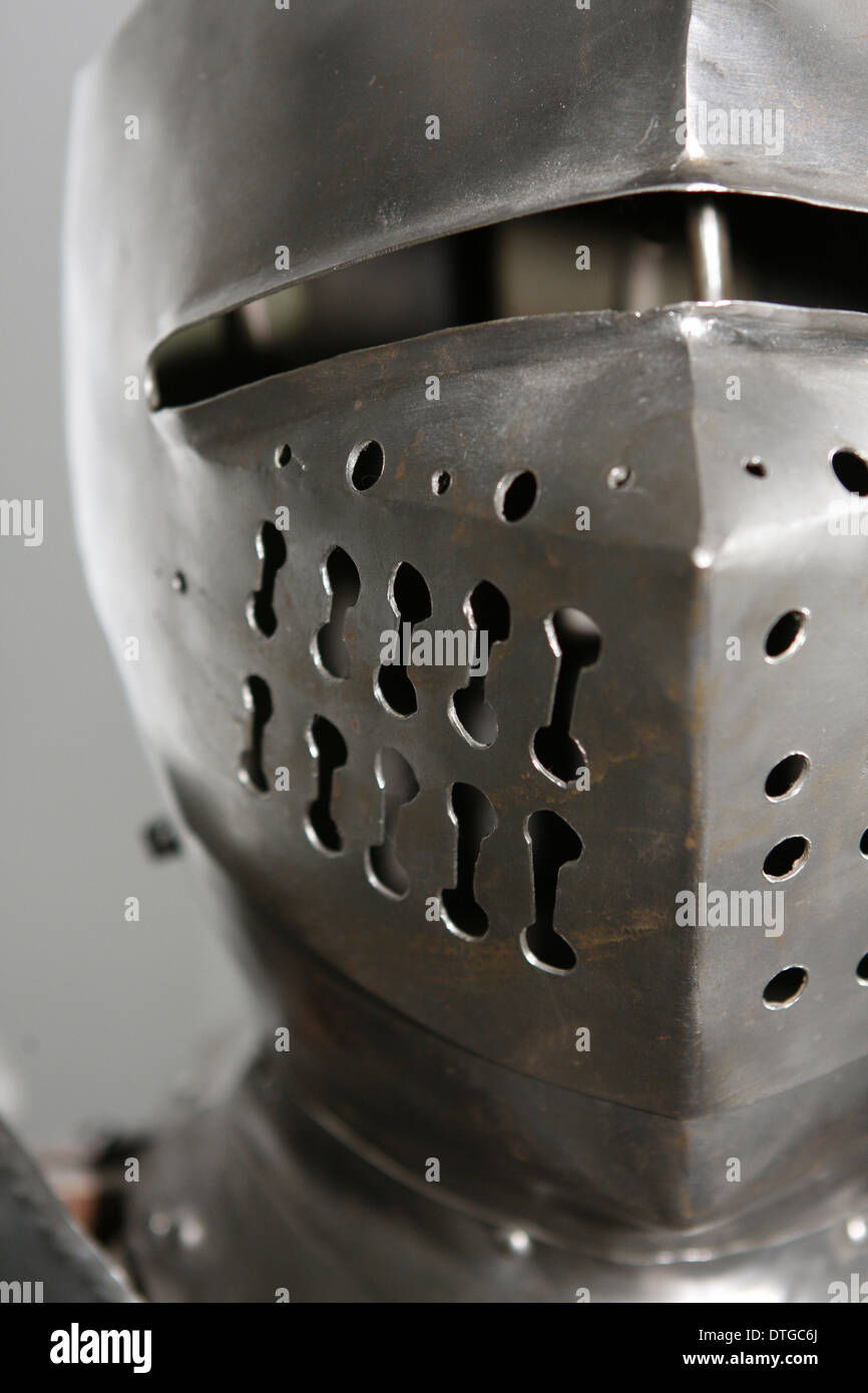tin/silver armor head piece from medieval times. Used to protect during battles. - Stock Image