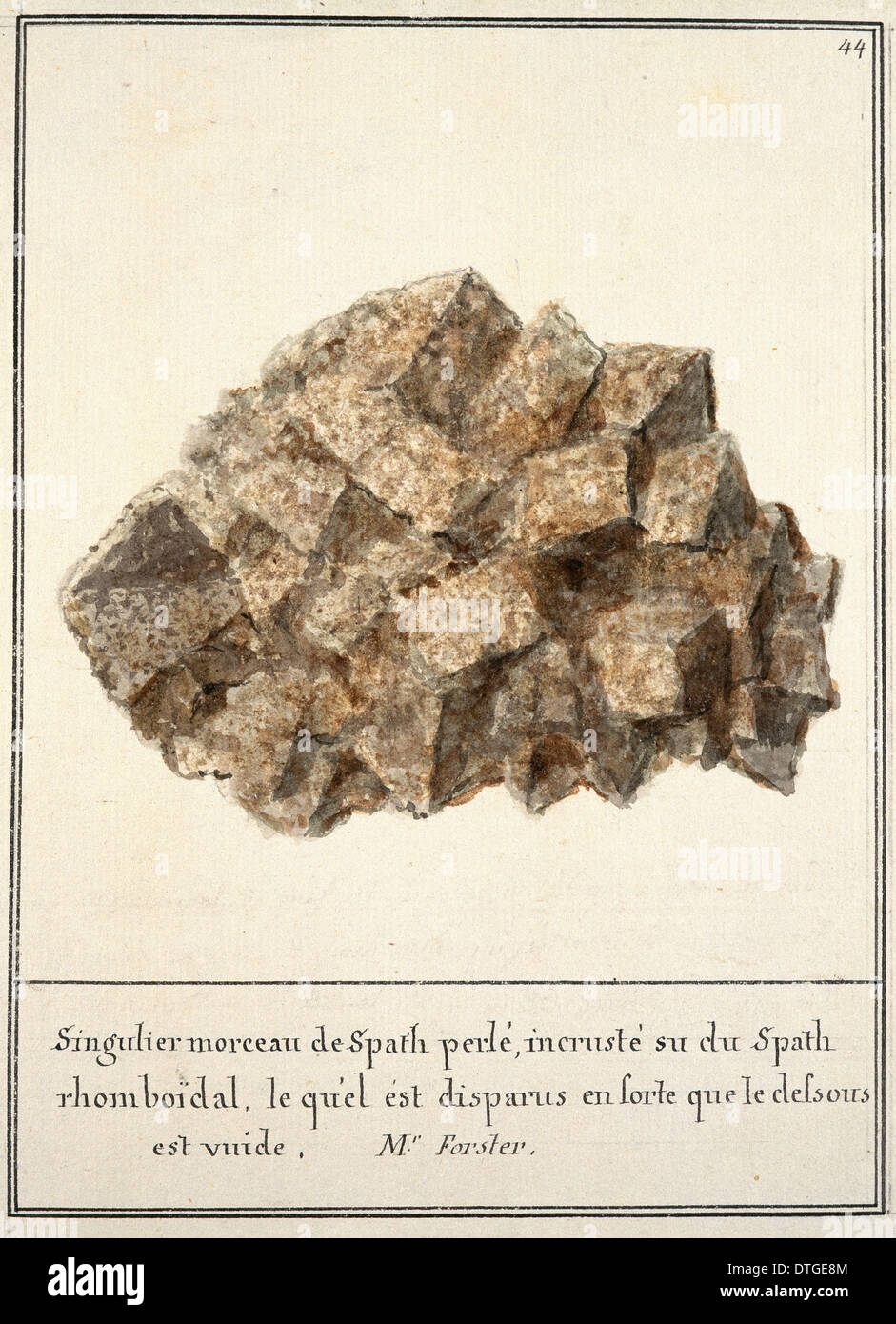 Plate 44 from Mineralogie Volume 1 (1790) by Swebach Desfontaines - Stock Image