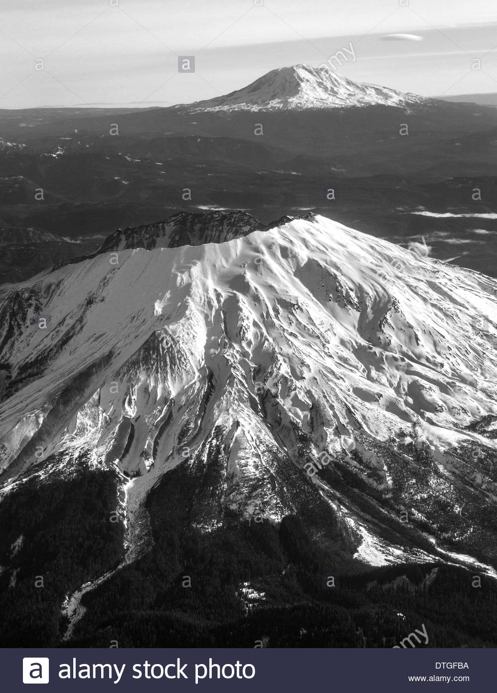 Mount Saint Helens And Mount Adams, Washington, USA - Stock Image