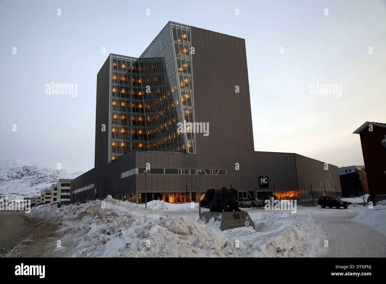 The tallest building in Nuuk. Greenland. The economic and politic center in Greenland. - Stock Image